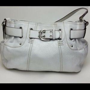 Tignanello White Leather Hobo Shoulder Bag Purse